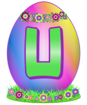 Decorative Easter Egg with rainbow gradient, floral wreaths, and a big U