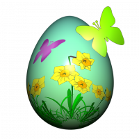 Easter Egg decorated with Daffodils and Butterflies