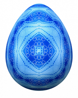 Blue Easter Egg decorated with hearts