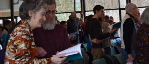 Congregational singing in Sanctuary